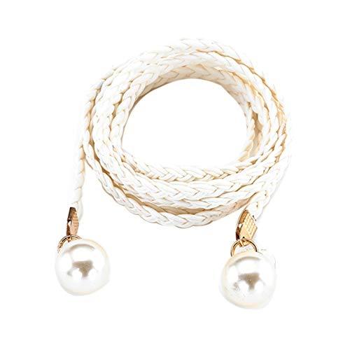 Ba30DEllylelly Frauengürtel mit Perlendekor Lässiger Stil Geflochtener Taillengürtel Weiblicher Gürtel Für Kleidungsdekoration Kleidung Zubehörteile