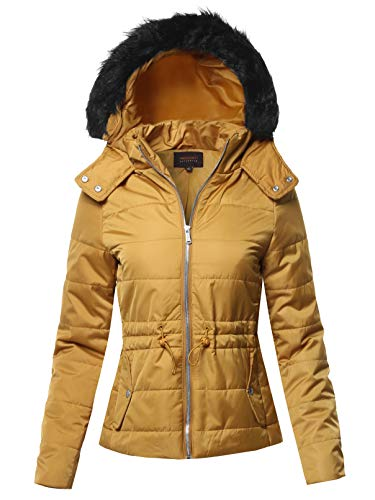 Awesome21 Solid Quilted Parka Puffer Jacket Dark Mustard S