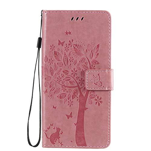 Fatcatparadise Kompatibel mit Galaxy A31 Hülle + Panzerglas Schutzfolie, Prägung Muster Schutzhülle PU Leder Handyhülle Wallet Case Flip Hülle Brieftasche Ledertasche (Rosa)