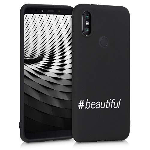 kwmobile Funda Compatible con Xiaomi Mi 6X / Mi A2 - Carcasa de TPU Hashtag Beautiful en Blanco/Negro