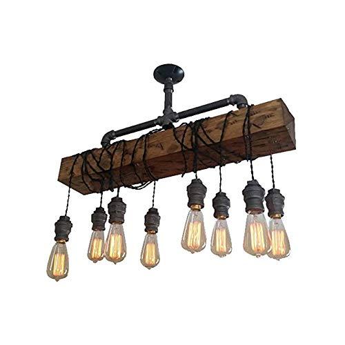 ForeverBox, FB7-63197, retro industrieel hout, 8 lampen, hanglampen met half-aansluiting, LED, in hoogte verstelbaar, kroonluchter met gloeilamp voor bar restaurant