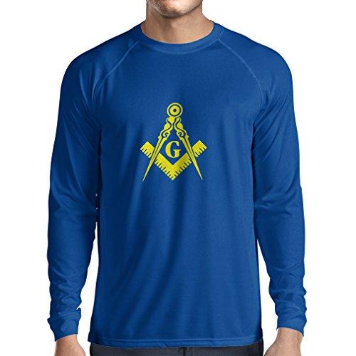lepni.me Camiseta de Manga Larga para Hombre Logotipo fraterno y masónico, Plaza de la Francmasonería y Brújula. (Large Azul Amarillo)