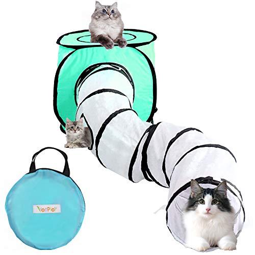 Vanplay Tunel para Gatos Túnel Plegable y Juguetes para Gatos con Bolsa de Almacenamiento para Cachorro de Conejo Gatito