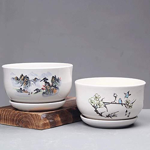 L.BAN Vaso in Ceramica per casa 2 Set di vasi da Fiori Combinazione di vasi per seminatrici Contenitore Gentleman with Hole Garden (Colore: B)