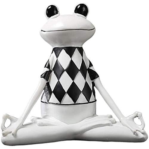 ZHIRCEKE Meditación Yoga Frog Estatua Figurine Garden Sculpture Buena Suerte para Zen Outdoor Garden Garden Decoraciones,B