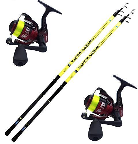 Globe Fishing Super Promo Kit Pesca alla Bolognese, 2 pz Canna Bolognese con Anelli legati Tornado 4 Metri + 2 pz Mulinello Vigor SL300 FD