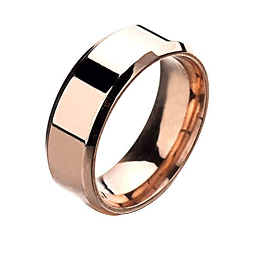 Lubier Anillo de compromiso de acero inoxidable de titanio y oro rosa para mujer y hombre 62.1mm Rosy Gold
