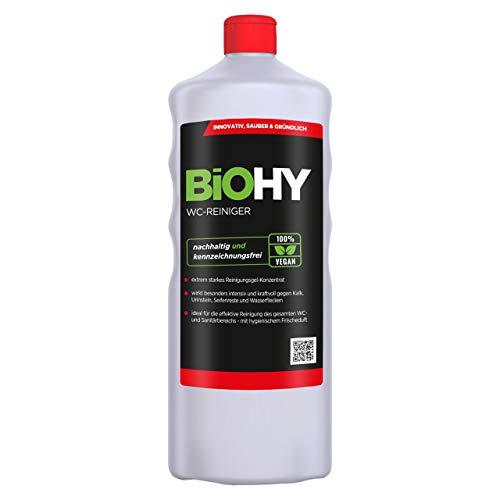 BiOHY WC-Reiniger (1l Flasche) | EXTRA STARK | Profi bio Konzentrat | Dickflüssiges Reinigungs-Gel | Ideal gegen Urinstein