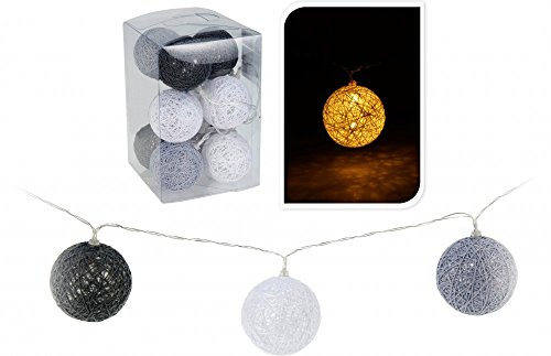 Home & Style 10er LED Lichterkette Grau Weiß 180cm Batterie Lampions Ø 6cm Raphia Kugeln