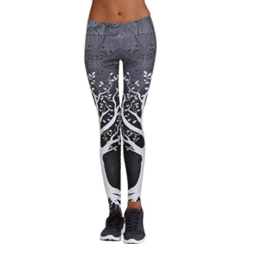 TUDUZ Yoga Hosen Damen, Frauen Fitness Bewegung Athletischen Hosen Training Tree Drucken/Camouflage/Mesh Yoga Leggings (Grau, XXXL)