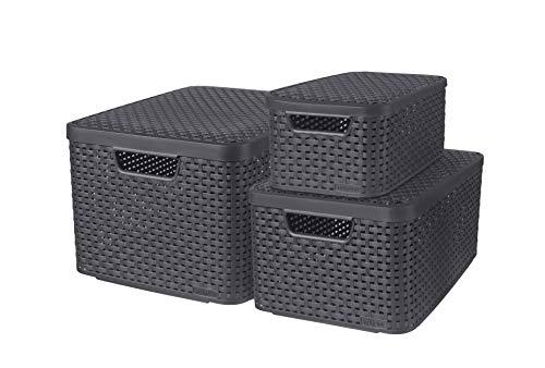 CURVER Lot de 3 Boîtes avec Couvercle - 3 Caisses (6L+18L+30L) en Plastique avec un Design Rotin Tressé pour Salle de Bain, Chambre, Bureau - Poignées Ergonomiques - Gris foncé