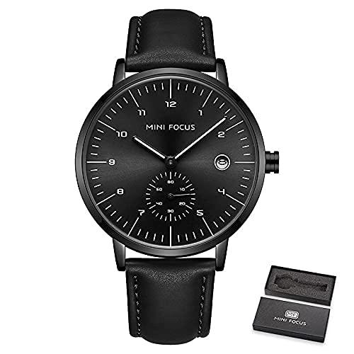 QIXIAOCYB Moda para hombre relojes Top marca de lujo cuarzo reloj hombres impermeable correa de cuero Relogio masculino reloj hombre, Reloj negro con caja.,