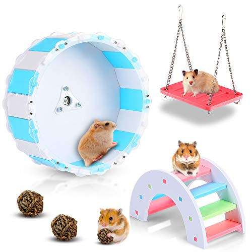 Skylety 5 Pieces Rainbow Hamster Toys Set Exercise Wheel DIY Wooden Rainbow Bridge Swing and Chew Grass Balls for Sugar Glider Hamster Rat Cage Toy