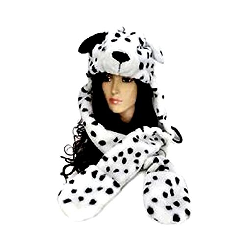 Pixnor Teens Womens Mens belle caricature Dalmation Dog foulard écharpes Chapeau Casquette blouson 3 en 1 Set pour femmes garçons filles adolescentes