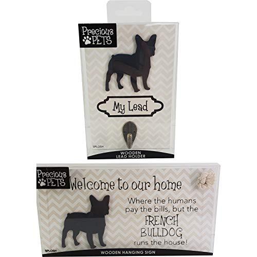 Precious-Pets Hundeplakette und Hundeleinenhaken, Französische Bulldogge, lustige Schilder, Geschenk für Mütter, Hundezubehör, Hausmaterial