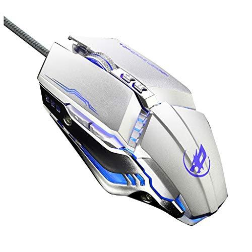 LRHD Wired USB Gaming Mouse Ergonomic Design Programmable 6Keys 3200DPI Mice LED Ergonómico portátil para computadora PC Laptop Desktop Adecuado para el hogar, Oficina y Juegos (Plata)