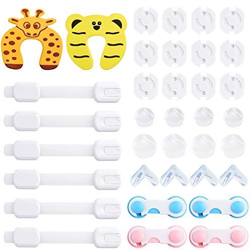 Diyife Kit de Seguridad para Bebés, [Nuevo][36 pcs] 10 Cerraduras de Seguridad Niños, 12 Protectores de Esquinas Transparentes, 2 Tope Clip Protector Puerta, 12 Cubiertas de Protección de Socket