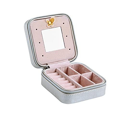 FACHA Caja de almacenamiento de joyería unisex para mujer, portátil, de viaje, caja de almacenamiento de cuero con cremallera (color: plata, tamaño: 10 x 10 x 5 cm)
