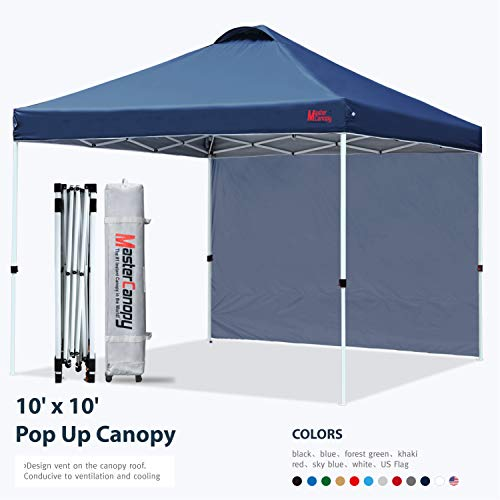MASTERCANOPY Pop Up Canopy Tent Instant Shelter Beach Canopy with 1 Sidewall(10'x10',Navy Blue)