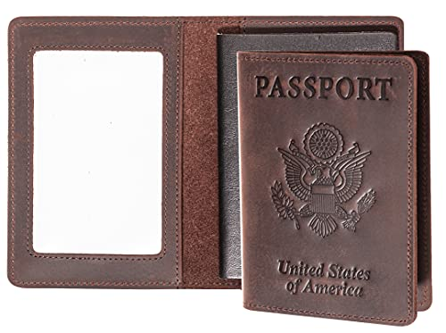 AGBIADD Passport Wallets and Vaccine Card Holder Combo,RFID Blocking Genuine Leather Passport Holder Cover Case with CDC Vaccination Card Slot, Leather Travel Documents Organizer Protector for Women Men (Coffee)