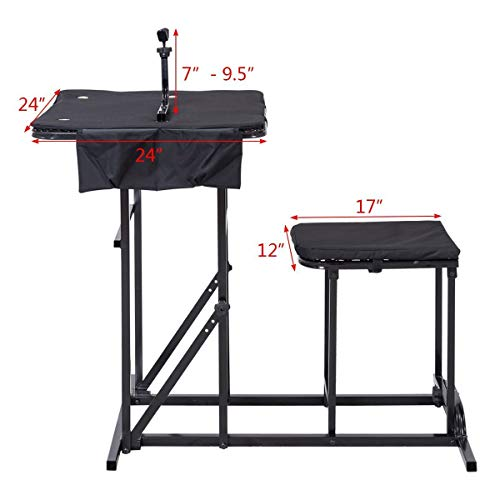 Goplus Portable Shooting Table Seat Set, Deluxe Shooting Bench with Adjustable Gun Rest and Ammo Pockets for Outdoor Range and Hunting