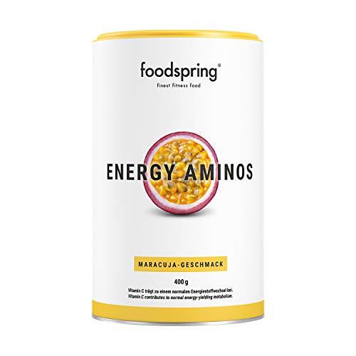 foodspring, Energy Aminos, Maracuja, 400g, Pre-Workout-Booster mit Vitamin C, B3, B12, Koffein, Piperin und veganen BCAAs