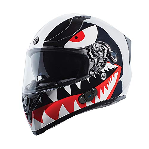 TORC T15B Bluetooth Integrated Full Face Motorcycle Helmet With Graphic (T15B Chrome Flying Tiger, X-Large)