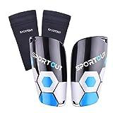 Sportout - Espinilleras para niños, jóvenes, adultos, con fundas elásticas altas, ofrece una protección integral para las piernas., color azul, tamaño medium