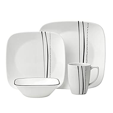 Corelle 16 Piece Cascading Lines Square Dinnerware Set, White