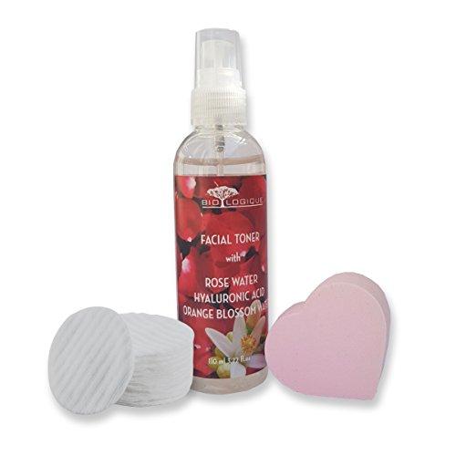 Lotion Tonique – avec eau de rose, acide hyaluronique et eau de fleur d'oranger. Solution anti-âge et anti-rides avec des ingrédients 100% naturels. 110 ml, tampons nettoyants et éponge visage inclus.