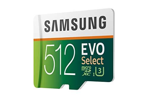 Samsung Memorie MB-ME512HA Evo Select Scheda MicroSD da 512 GB, UHS-I U3, Fino a 100 MB/s, Adattatore SD Incluso