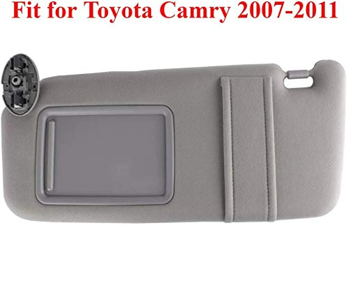 GOLDPAR Sun Visor Compatible with 2007 2008 2009 2010 2011 Toyota Camry & Toyota Camry Hybrid 2007-2011 Without Sunroof and Light (Gray, Left Driver Side)
