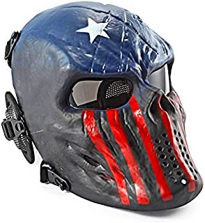 Airsoft mask, full face skull mask, full face mask with ear protectors, tactical/Halloween/paintball/Cosplay/party/BBs shooting/captain/ghostfire/black silver/black/knight