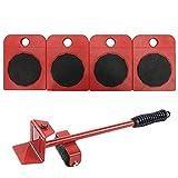 WeFoonLo 1 ensemble d'outils pour soulever et déplacer un élévateur de meubles pour soulever des meubles et des équipements lourds, 1 tige de levage et 4 galets de déménagement (Rouge)