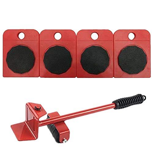WeFoonLo Möbelheber-Set, strapazierfähiges Gerät, Hebelwerkzeug-Set für schwere Möbel & Geräte, 1 Hebestange und 4 Möbelbewegungsrollen, 1 Set, rot, 1