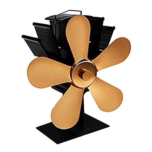 Sykasm Heißluft-Ofenventilator, geräuschloser Betrieb, 5 Ventilatoren, Kaminventilator, umweltfreundlicher Kamin-Ventilator für Holzofen, Holzofen