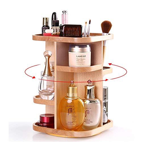 ZYYH Organizador de Maquillaje de bambú, multifunción Giratorio de 360 °, con 8 Secciones de Almacenamiento de cosméticos de Gran Capacidad para Diferentes Tipos de cosméticos, Joyas y accesori