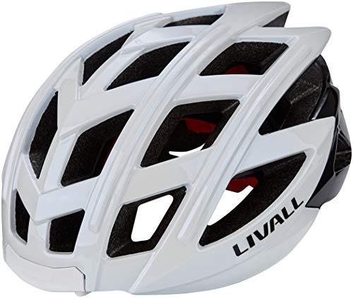 Livall Unisex– Erwachsene BH60SE Musik, Rücklicht, Blinker, Navigation, Anruffunktion und SOS-System Fahrradhelm, weiß, 55-61cm