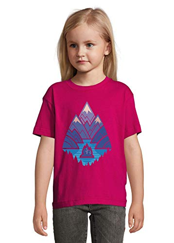 Iprints Abstract Minimalistic Mountain Range Lake Forest Camping Graphic Kids T-shirt