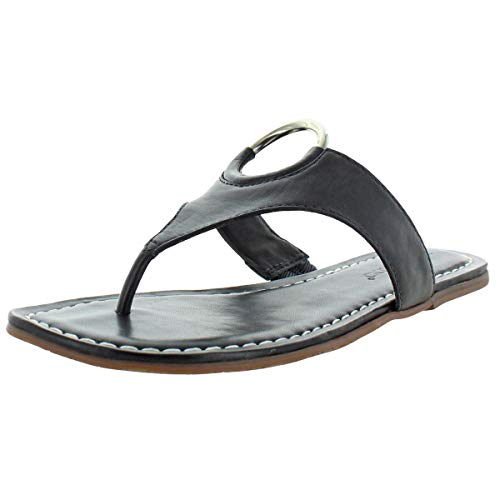 Bernardo Women's Mallory Antique Leather O-Ring T-Strap Sandals Black Size 6.5