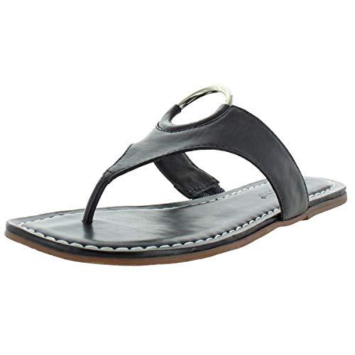 Bernardo Women's Mallory Antique Leather O-Ring T-Strap Sandals Black Size 8.5