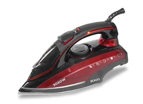 SOGO PLA-SS-6365 Plancha de Vapor, Rojo, 3050 W