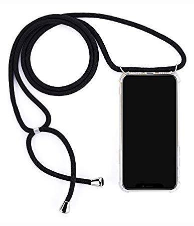 Mediatech Handykette kompatibel mit Samsung Galaxy S8 Plus - Handy-Kette Handyhülle mit Band Handy Hülle mit Kordel zum Umhängen Halsband Necklace Handyanhänger Band Case Cover(Transparent Bumper)