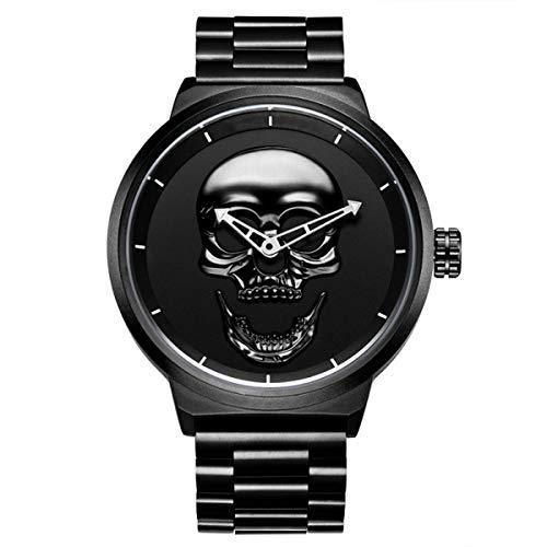 Hannah Martin Herren Uhr Männer Chronographen Gold Edelstahl Wasserdicht Designer Armbanduhren Mann Militär Großes Leuchtende Analog Datum Business Uhren,Black
