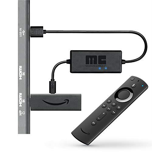 Fire TV Stick avec télécommande vocale Alexa + câble d'alimentation USB Mission (plus besoin d'utiliser d'adaptateur secteur)
