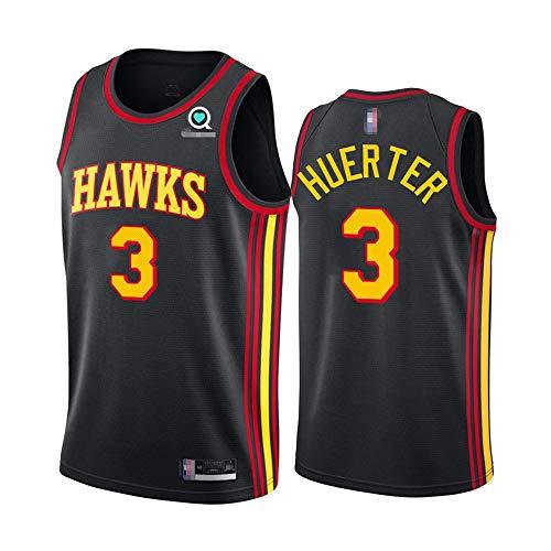 SHR-GCHAO 2021 Baloncesto De Los Hombres NBA Atlanta Hawks 3# Kevin Huerter Jersey # Baloncesto Ocio Deportes Sin Mangas, Flojo, Cuello Redondo Camiseta,Negro,S(165~170cm)