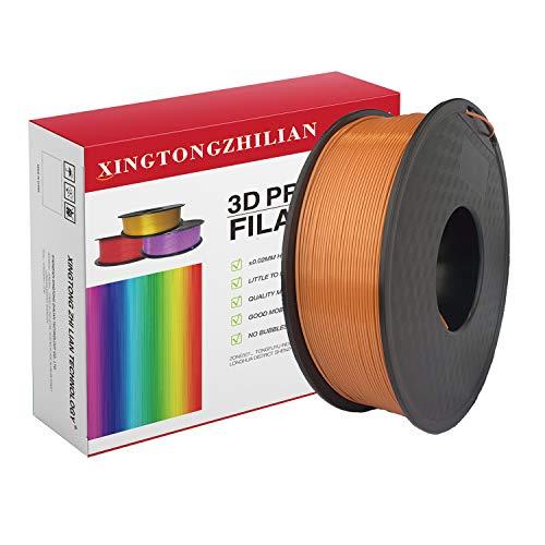 Filamento per stampante 3D PLA, precisione dimensionale +/- 0,02 mm, bobina da 1 kg, filamento bianco PLA 1,75 mm, filamento per stampante 3D PLA, filamento metallico PLA, (Marrone)
