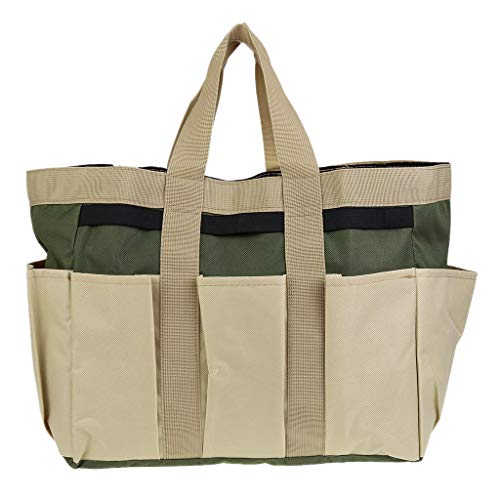 Mikiya Multi-function Oxford Cloth Garden Plant Tool Bag Pouch Toolkit Tote Organizer with 8 Pockets Lawn Yard Carrier