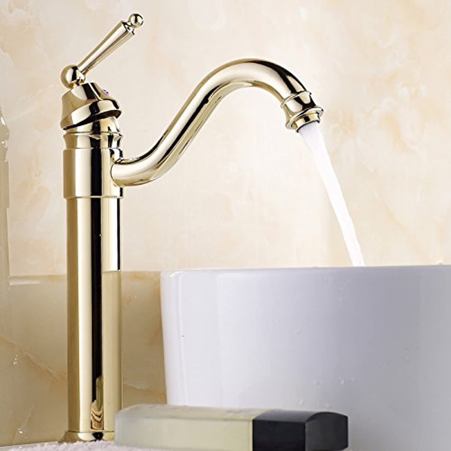 Hlluya Professional Sink Mixer Easy-to-gil basin full copper antique and cold water taps plus high single hole basin mixer console antique faucets and highlight the silver and the gold plated high