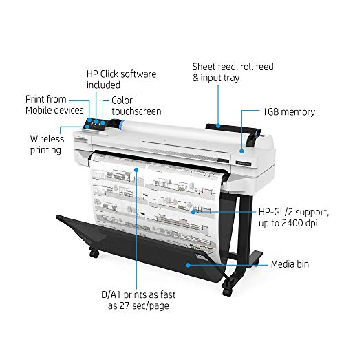 "HP DesignJet T530 Large Format Wireless Plotter Printer - 24"", with Mobile Printing (5ZY60A)"
